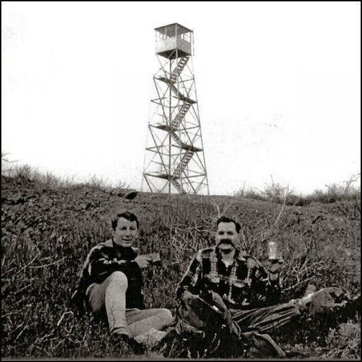 Washburn Mountain tower April 1962 - Larry Paul and Walt Raynor (L. Paul photo)