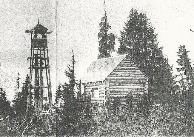 Circa 1924 photo of Beckler Peak lookout by Norm McCausland